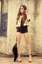 cream Lokanda jacket - black sequins Marisa shorts