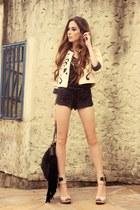 cream Lokanda jacket - black sequins Marisa shorts
