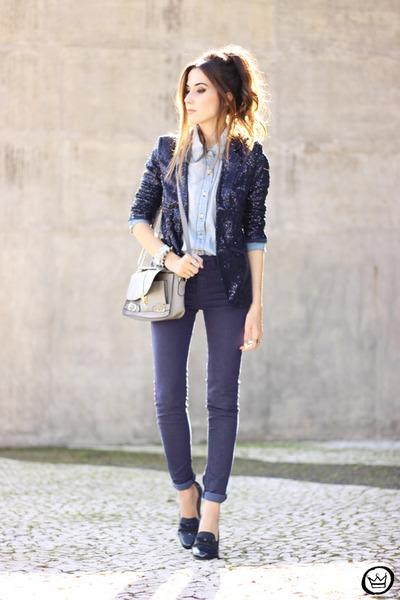 navy iclothing blazer - light blue Lunender shirt - navy Lunender pants