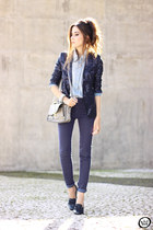 navy iclothing blazer - light blue Lunender shirt - navy Lunender pants