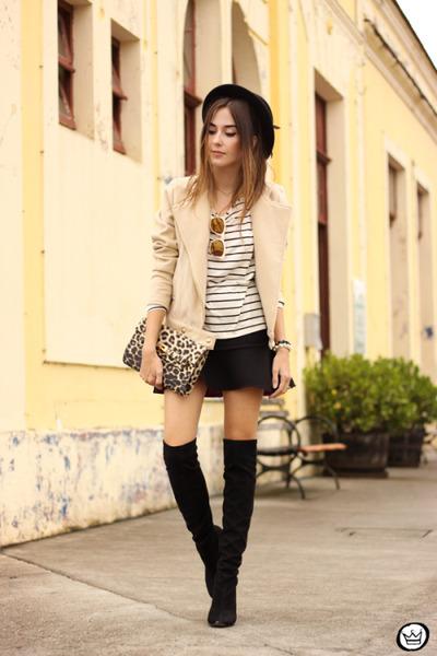 cream Eloecom coat - white Slywear shirt - black romwe skirt