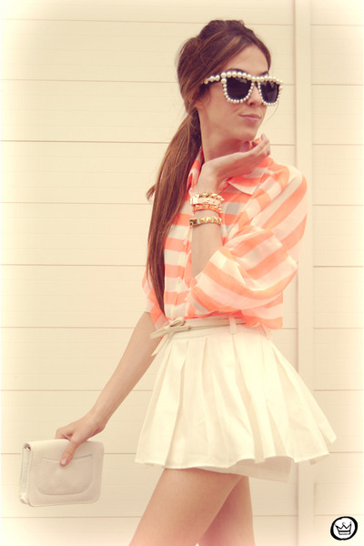orange romwe shirt - neutral Kaf bracelet - white Clothing Loves skirt