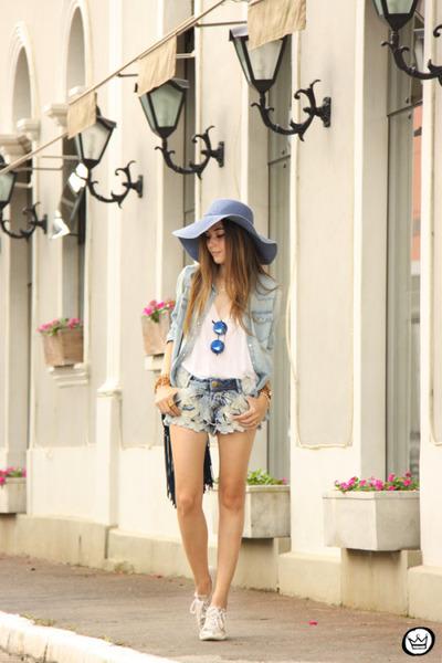blue levis shirt - blue Degrant shorts - navy zeroUV sunglasses