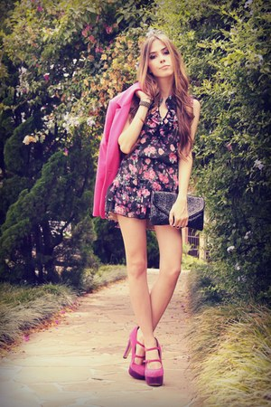 hot pink Renner blazer - black Xiquita Bakana dress - black asoscom bag