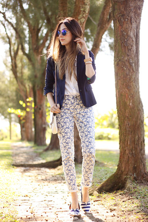 navy Gap blazer - white Gap shirt - white Gap pants