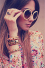 Beige-romwe-sunglasses-light-pink-chicwish-skirt-hot-pink-arezzo-heels