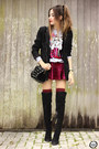 Black-dafiti-bag-maroon-chicwish-skirt-off-white-ohkei-jumper