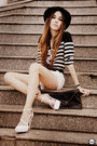 White-romwe-shorts-black-choies-shirt-white-asos-heels