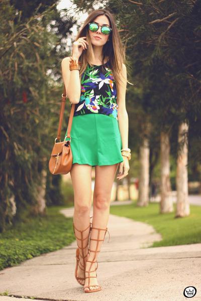 blue Anna Morena top - green Slywear skirt - tawny Esdra sandals
