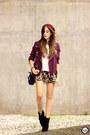 Maroon-dafiti-jacket-mustard-dafiti-skirt