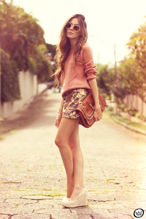 light brown Choies skirt - salmon awwdore jumper - Kaf bracelet