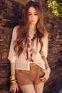 Peach-espao-1098-shirt-brown-espao-1098-shorts-burnt-orange-asos-heels