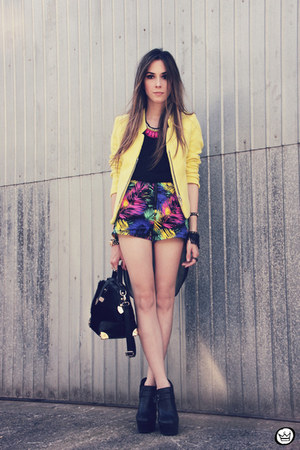 yellow romwe jacket - hot pink romwe necklace - black Kaf accessories