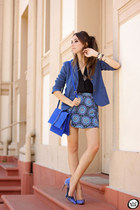 blue Gap jacket - blue Motel Rocks skirt - ivory MVMT watch