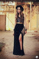 black cross Timeless skirt - black romwe hat - black Labellamafia top