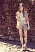 tan Xiquita Bakana shorts - white sequins romwe vest - eggshell Kaf bracelet