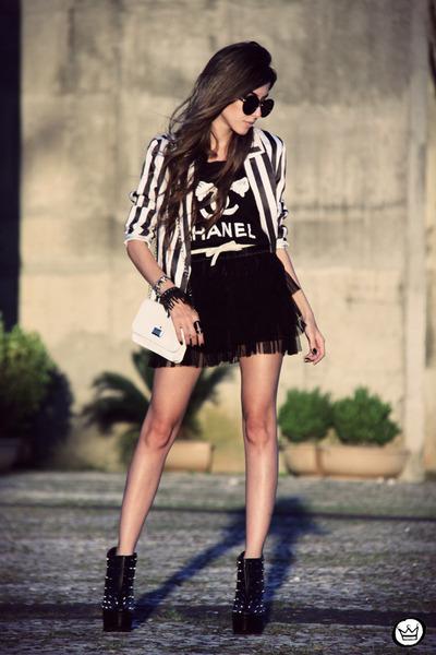 black spiked iclothing boots - black striped Charry blazer - black MYAH t-shirt