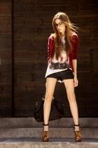 crimson velvet Renner blazer - black leopard Schutz heels
