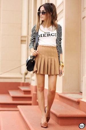 ivory Forever21 t-shirt - mustard Forever21 skirt - white Angel cardigan
