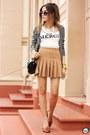 Ivory-forever21-t-shirt-mustard-forever21-skirt-white-angel-cardigan