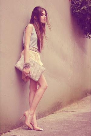 neutral romwe skirt - beige Arezzo bag - beige Arezzo heels