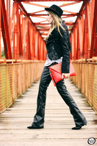 ruby red Kafé bag - black romwe jacket - black Morena Raiz pants