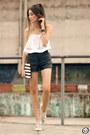 White-dafiti-bag-dark-gray-romwe-shorts-white-moikana-top