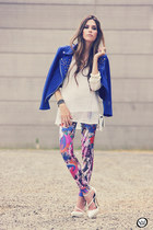 blue rivets romwe jacket - white Labellamafia leggings