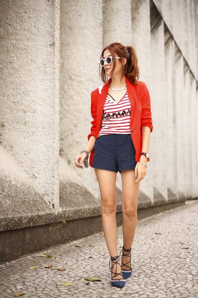 red Shoulder top