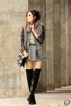 silver Displicent vest - black Boda Skins jacket - heather gray Wear Ever skirt