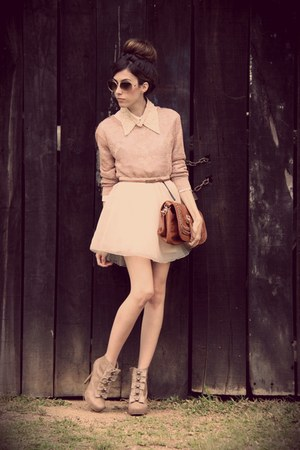 light pink Espao 1098 jumper - tan asos boots - peach MINUSEY skirt