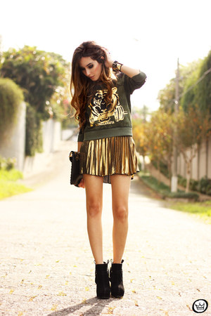 gold bang good skirt - black iclothing bag - dark green Labellamafia jumper