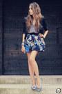 Blue-romwe-skirt-sky-blue-grifeon-flats-blue-kafé-acessórios-bracelet
