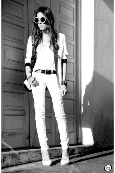 white romwe jeans - white romwe blazer