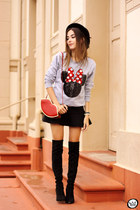 red Dafiti bag - black romwe skirt - silver Ohkei jumper
