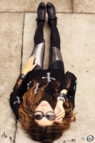 black Black Milk leggings - black romwe jumper - black Kafé Acessórios bracelet
