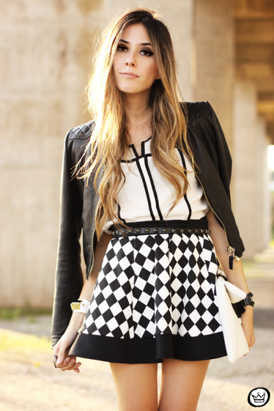 black iclothing skirt - ivory awwdore top