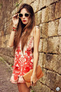 Beige-kafé-bracelet-ruby-red-choies-dress-camel-zerouv-sunglasses