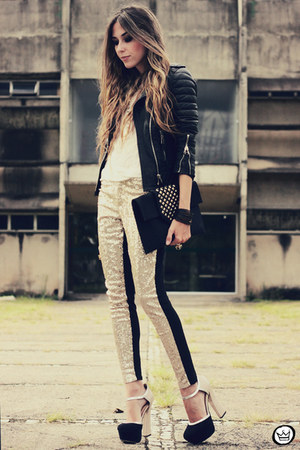 gold romwe pants - black Boda Skins jacket