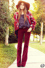 Maroon-nasty-gal-coat-tawny-asos-hat-brick-red-salsa-pants