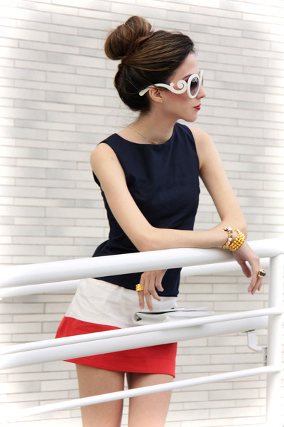red Angel shoes - navy Slash Store dress - white romwe sunglasses