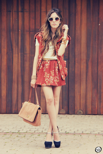 tawny Vish vest - tan Bruna Starling bag - tawny Vish skirt