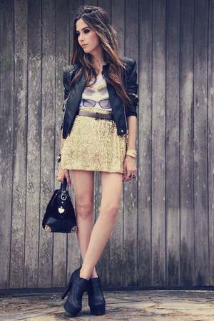 gold sequins romwe skirt - black romwe jacket - white Margô t-shirt