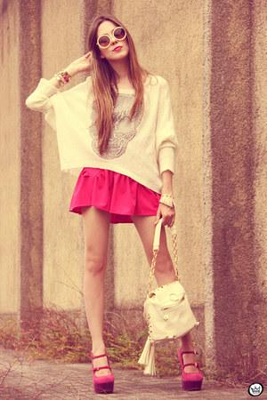 hot pink romwe skirt - eggshell awwdore jumper