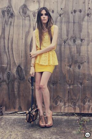 mustard lace peplum Nini FashionStyle top - mustard ClubCouture skirt