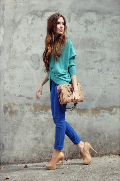 blue denim Renner pants - aquamarine Renner cardigan