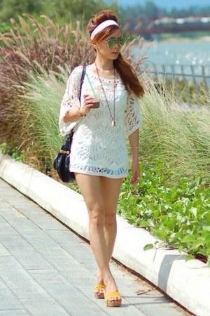 black Chloe bag - light blue Zara shorts - yellow clogs - white crochet top top
