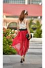 Ruby-red-hi-lo-skirt-twfs-skirt-black-tassle-belt-belt