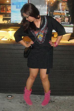 black Miley Cyrus and Max Azria dress - pink boots - pink bracelet - black Nine