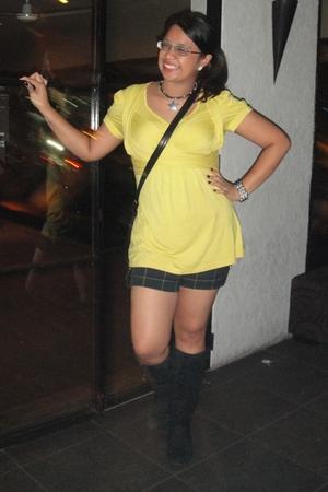 yellow For Me top - green Terranova shorts - black amoclubwearcom boots - Abbey